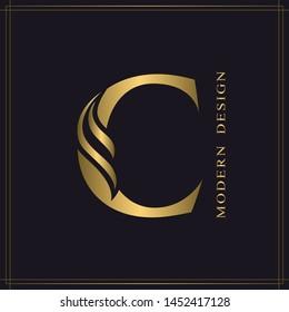Elegant Capital letter C. Graceful Royal Style. Calligraphic Beautiful Logo. Vintage Gold Drawn Emblem for Book Design, Brand Name, Business Card, Restaurant, Boutique, Hotel. Vector illustration