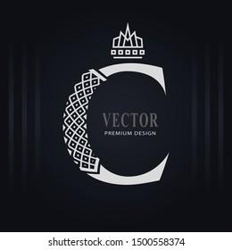 Elegant Capital letter C. Graceful Royal Style. Creative Calligraphic Beautiful Logo. Vintage Drawn Emblem for Book Design, Brand Name, Business Card, Restaurant, Boutique, Hotel. Vector illustration