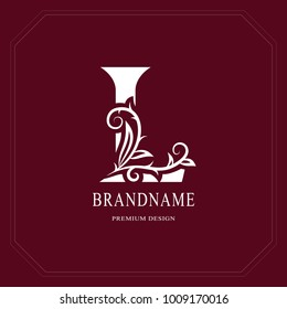 Elegant Capital letter L. Graceful floral style. Calligraphic beautiful logo. Vintage drawn emblem for book design, brand name, business card, Restaurant, Boutique, Hotel, Cafe. Vector illustration