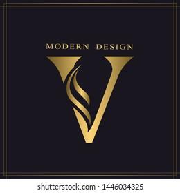 Elegant Capital letter V. Graceful Royal Style. Calligraphic Beautiful Logo. Vintage Gold Drawn Emblem for Book Design, Brand Name, Business Card, Restaurant, Boutique, Hotel. Vector illustration