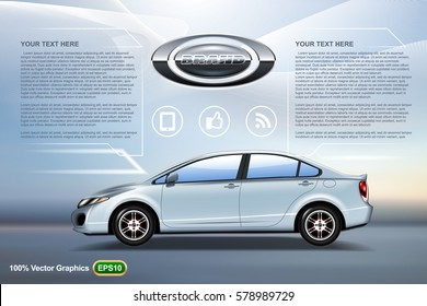 Elegant car sedan ads template mock up, on nice blue background and logo on. Template ready to be printed on any sizes. Reality 3D illustration image.
