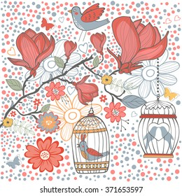 Elegant card with flowers bids and cages