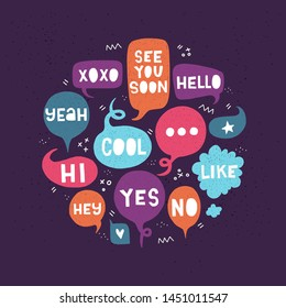 Elegant card with small talk expressions in hand drawn speech bubbles on dark back. Collection of greeting phrases, marks and words Hi, Hello, Yes, No, Wow, Like, Cool, Hey, Yeah, See You Soon, Xoxo