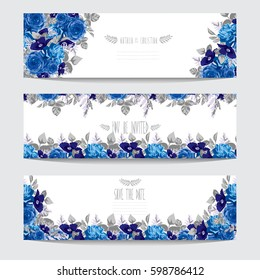 Elegant cards with decorative blue flowers, design elements. Can be used for wedding, baby shower, mothers day, valentines day, birthday cards, invitations, greetings. Vintage decorative flowers.