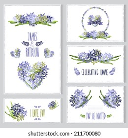 Elegant cards with hyacinth bouquets, hearts and wreath, design elements. Can be used for wedding, baby shower, mothers day, valentines day, birthday cards, invitations. Vintage decorative flowers.