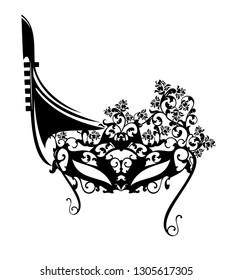 elegant carnival mask with rose flowers and venetian gondola boat - black vector silhouette design