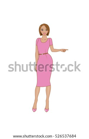 7a7871a9989e Full length poses and emotions. Vector illustration. Calm smiling sexy young  girl with short hair points left. Office clothing. - Vector