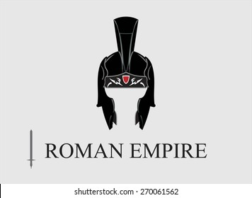 Elegant Centurion helmet, combine with text. Symbol of the Emperor, The Roman Empire. Symbol of the Greatest. An illustration of the emperor icon combine horizontally with text and sword icon.