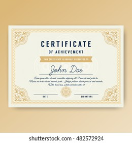 Elegant certificate of achievement with ornaments, A4 size with bleeds. Vector illustration