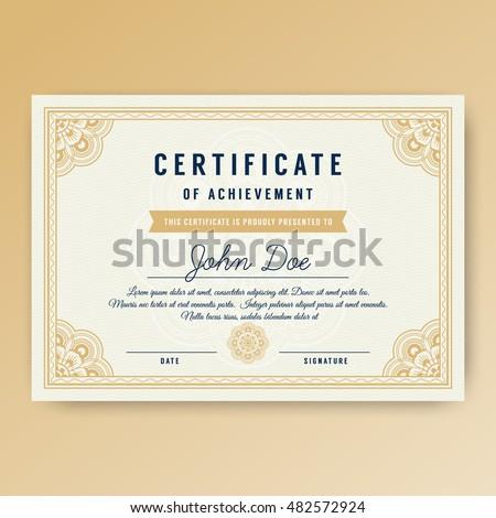 elegant certificate achievement ornaments a 4 size stock vector