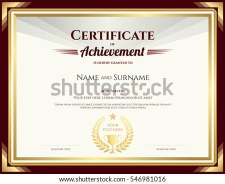 elegant certificate achievement template vintage brown stock vector