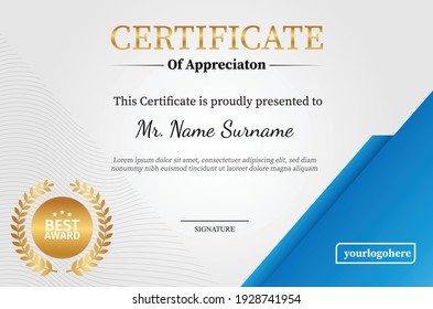 Elegant certificate design template with wave pattern.
