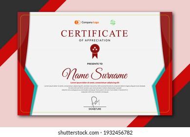 Elegant certificate template design in red