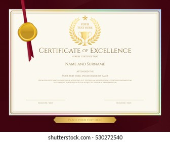 Elegant certificate template for excellence, achievement, appreciation or completion on red border background