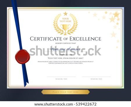 elegant certificate template excellence achievement appreciation の