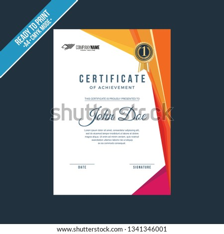 Elegant Certificate Template Illustration Stock Vector