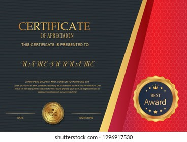 Elegant certificate template vector with luxury and modern pattern background - Vector