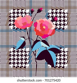 Elegant checkered English fabric print with embroidered rose. Seamless hounds tooth pattern. Textile design for school uniform, plaids, scarfs. Red flower on black and grey background.
