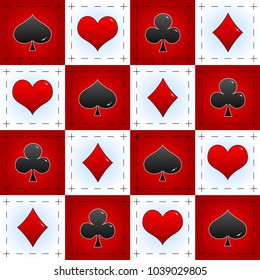 An elegant checkered poker pattern. Perfect to use in Lolita clothes or Alice in Wonderland themes as much as classical poker products.