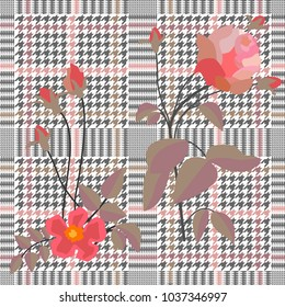 Elegant checkered  print with embroidered roses. Seamless hounds tooth pattern with English motifs. Textile design for school uniform, plaids, scarfs. Red flower on grey background.