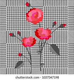 Elegant checkered  print with embroidered roses. Seamless hounds tooth pattern with English motifs. Textile design for school uniform, plaids, scarfs. Red flowers on classical grey background.