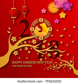 Elegant Chinese New Year 2018 Year Of Dog Paper Art Banner and Card Design Template, Suitable For Social Media, Banner, Flyer, Card, Party Invitation and Other Chinese New Year Related Occasion