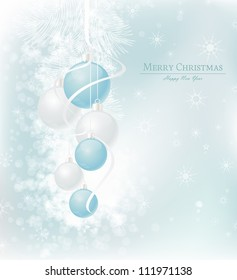 elegant Christmas background with blue and silwer  baubles