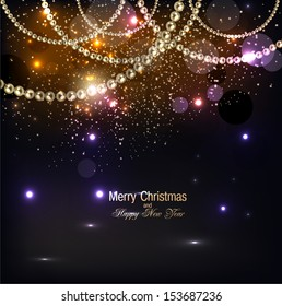 Elegant christmas background with golden garland. Vector illustration