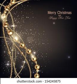 Elegant christmas background with golden garland. Vector illustration