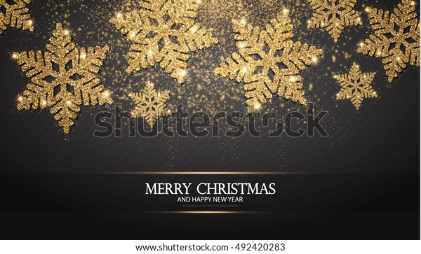 Elegant Christmas Background with Shining Gold Snowflakes. Vector illustration
