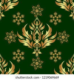 Elegant Christmas Background with Shining Golden Elements. Golden seamless pattern on a green background. Vector illustration.