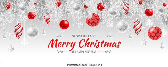 Elegant Christmas banner template. Vector illustration.