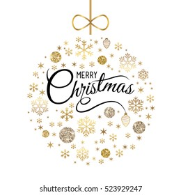 Elegant Christmas card, ball with gold, glitter snowflakes. Vector illustration