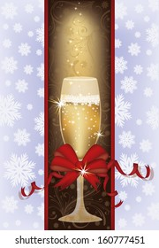 Elegant Christmas card with champagne, vector illustration
