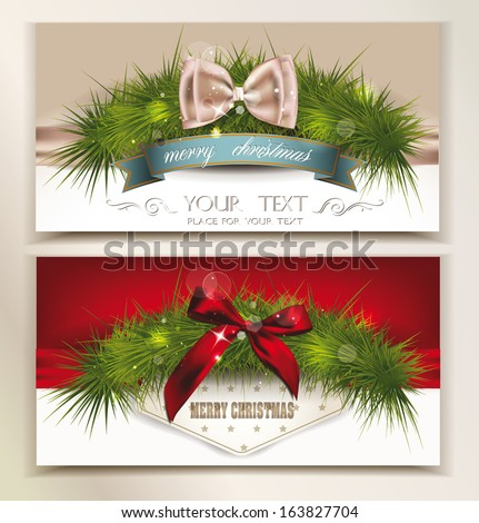elegant christmas cards with green chistmas tree branch - Elegant Christmas Cards