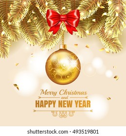 Elegant Christmas gold illustration with christmass balls. Elegant vector background with fir-tree branches. Happy New Year banner with golden confetti, stars and shining lights. Vector illustration