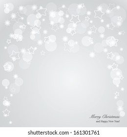 Elegant Christmas gray background with stars and place for text. Vector Illustration.