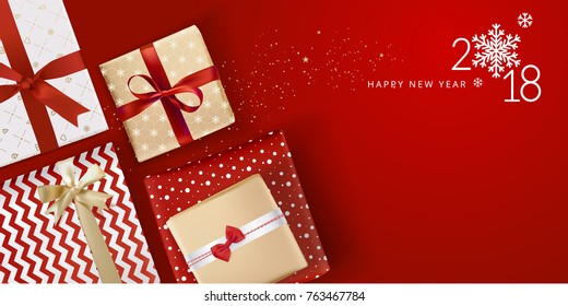 Elegant Christmas greeting card. Vector illustration concept for greeting cards, web banner, flayer brochure, party invitation card.