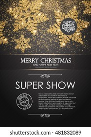 Elegant Christmas Poster Template with Shining Gold Snowflakes. Vector illustration