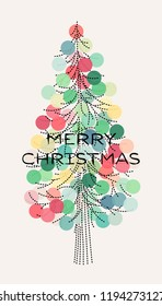 Elegant Christmas tree with pastel colored decoration and Merry Christmas greetings. Editable dashed line stroke