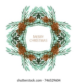 Elegant christmas wreath with fir tree branches and cons, design element. Can be used for holiday invitations, greeting cards, scrapbooking, print, gift wrap, manufacturing. Watercolor style
