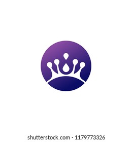 Elegant circle crown logo/icon. Vector image.