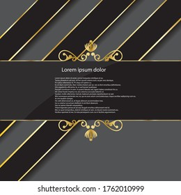 Elegant classic invitation with golden ornaments on royal black color. vector illustration