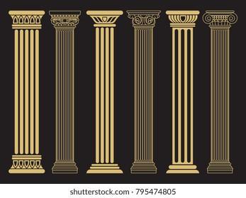 Elegant classic roman, greek architecture line and silhouette columns. Vector illustration