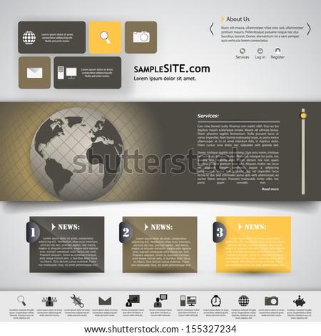 Elegant Clean Minimalistic Website Template Stock Vector Royalty