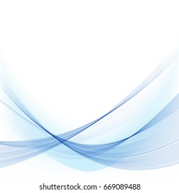 Elegant ,clear,blue waves on a white background