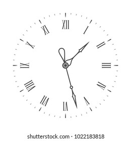 Elegant clock face. Black wall Clock with Roman numeral. Vintage clockface isolated on white background. Vector illustration EPS 10.
