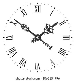 Elegant clock face with roman numerals and tick marks placed on a white background. Vector illustration.