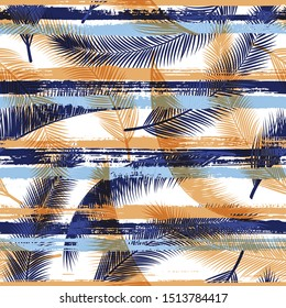 Elegant coconut palm leaves tree branches overlapping stripes vector seamless pattern. Caribbean forest foliage swimwear textile print. Floral tropical leaves seamless design.