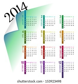 elegant and colorful 2014 calendar design on light background - week starts with sunday